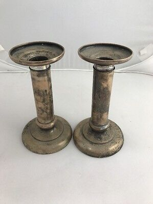 Antique 1 Pair (2) E Caldwell & Co.STERLING SILVER Candlestick Candle Holder
