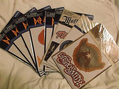 Rock And Roll Stickers. Motley Crue, The Who, Aerosmith, Def Leppard. 9 Packs