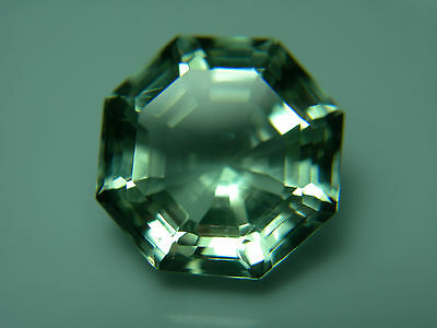 5.90ct fine Green Prasiolite Gem fancy OCTAGON cut Brazil gemstone amethyst