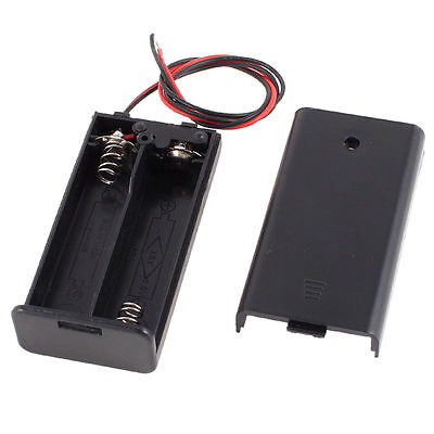 2 AA Battery Holder Case Box with Switch and Wires