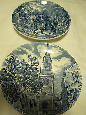 Set OF 2 Decorative Collective Tea Plates Historic Colonial Scenes-Liberty Blue