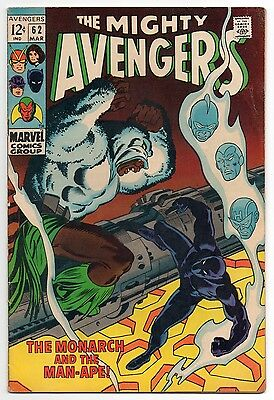 THE AVENGERS #62 | Vol. 1 | 1st Man-Ape | Black Panther movie | 1969 | FN/FN-