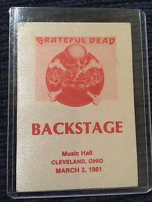 Grateful Dead Backstage Pass Cleveland, Ohio March 2,1981