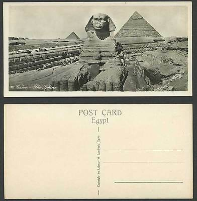 Egypt Old Real Photo Postcard Cairo Excavated SPHINX and Pyramids Bookmark No.76