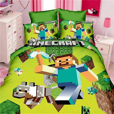Minecraft Bedding Set  Pcs Kit Of Duvet Cover Bed Sheet Twin 100% Polyester