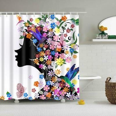 Shower Curtain Bathroom Polyester Fabric Panel Decor with 12 Hooks Set #3
