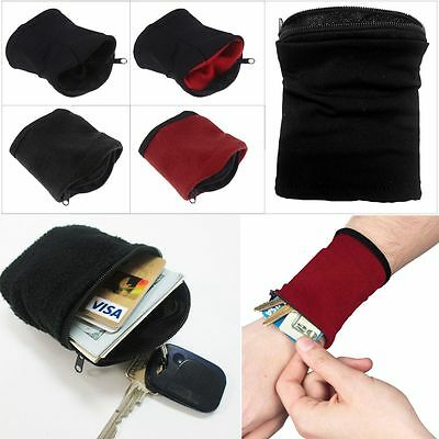 Wrist Wallet Pouch Band Fleece Zipper Running Jog Travel Gym Cycling Safe Sport