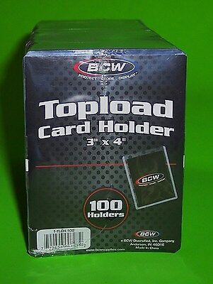 100 Pack-Topload Card Holders For Sports/ Trading Cards, 12M 3 X 4 Rigid Plastic