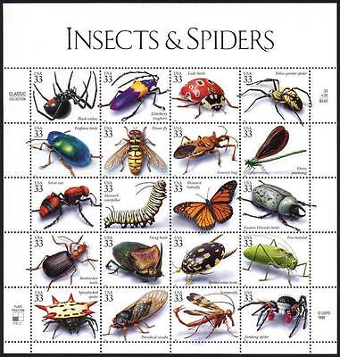 1999 Insects & Spiders MINT Sheet 20 33¢ Stamps 3351 Bugs Beetles Cicada Fly Ant