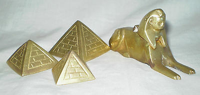 Vintage Handmade Egyptian Brass Pyramids & Sphinx Inkwell? With Hinged Head