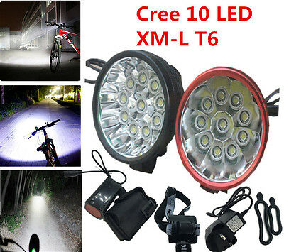 Bike Bicycle Light 10 X Cree12000Lm XM-L XML T6 LED Headlamp Rechargeable UK
