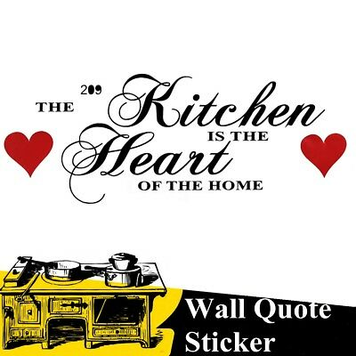 The Kitchen Is The Heart Of The Home Wall Quote Sticker Vinyl Decor Decal Art