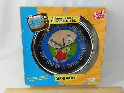 New! Family Guy Stewie Illuminating Chrome Wall Clock Stay Chat  But Total Bitch
