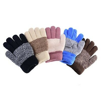 Nice Kids Winter Warm Gloves Baby Boys Girls Knitted Full Finger Thick Mittens