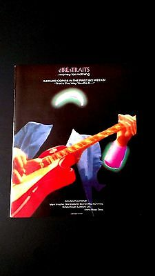 "dIRE sTRAITS ""MONEY FOR NOTHING"" RARE ORIGINAL PRINT PROMO POSTER AD"