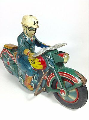 Motorcycle Alps made friction traveling tin toys Vintage From Japan