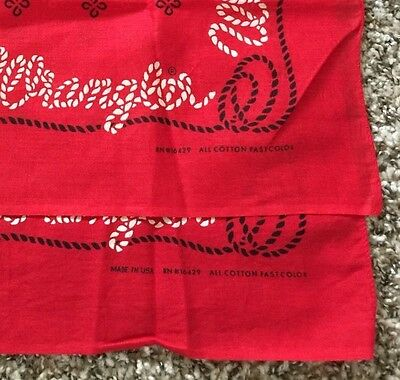 Lot Of 2 DeadStock Vintage Wranglers Bandana handkerchief Red Fast Color US Made