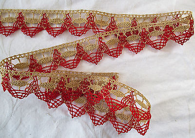 Vintage Cotton Crocheted Lace Turkey Red Linen Color French