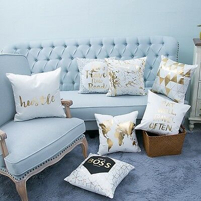 Letter Pattern Pillow Case Sofa Waist Throw Linen Blend Cushion Cover Home Decor