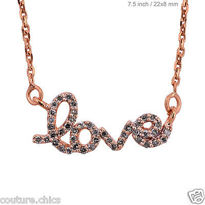 Solid 14k Rose Gold LOVE Pendant Necklace Pave Diamond Vintage Style Jewelry NEW