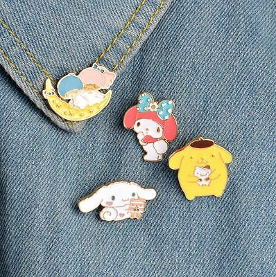 4 Pc Set Kawaii Japanese Cartoon Pins, My Melody, Cinnamoroll, Purin, Twin Stars