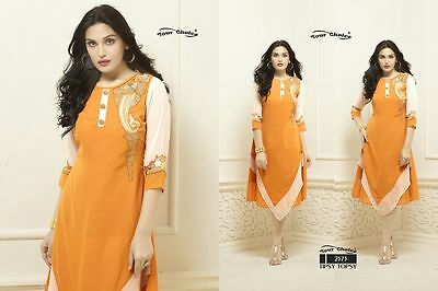 US SELLER Women Indian/Bollywood Kurti/Kurta/Tunic/Top W/EMBROIDERY 2XL/44 PARTY