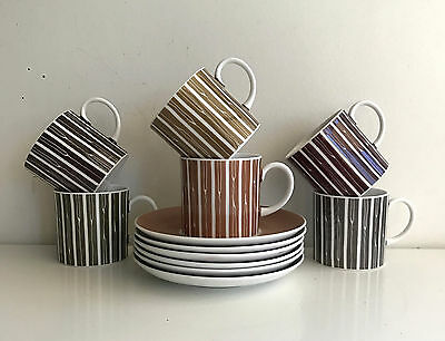 Susie Cooper set of six cups and saucers duos coffee cans england harlequin set