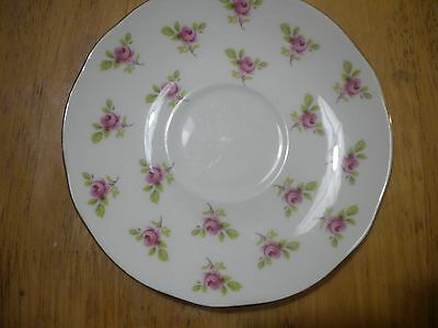 DUCHESS bone china england PINK FLORAL ROSE saucer EXC