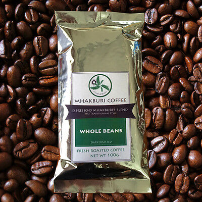 """MHAKBURI COFFEE """"ESPRESSO-D BLEND"""" Robusta Roasted from Thailand Whole Beans"""