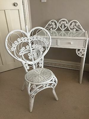 Peacock Style White Rattan Ornate Dressing Table And Chair