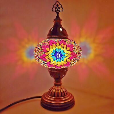 Turkish Moroccan Colourful Lamp Light Tiffany Style Glass Desk Table - UK SELLER