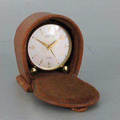 MINIATURE SWISS ALARM CLOCK by LOOPING with LEATHER CARRY CASE