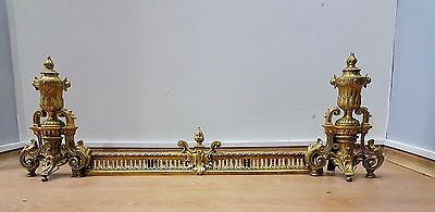OLD ANTIQUE AUTHENTIQUE FRENCH BRASS FIREPLACE FENDER 1800s