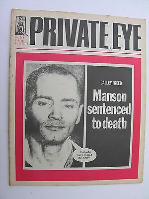 PRIVATE EYE 1971 9 April 1971 No 243 Charles Manson Cover Sentenced to Death
