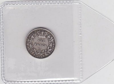 1864 Victorian Young Head Sixpence In A Used Fine Condition