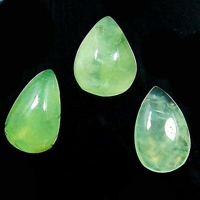 Wholesale Lot Natural Prehnite Loose Gemstone 3Pc, 57 Ct S-20 To 22 Mm Fantastic