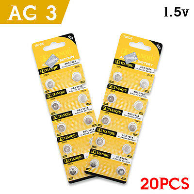 20 X Ag3 Ag Lr41 Ag3 Sr41 192 3921.5 V Button Coin Cell Watch Batteries Alkaline