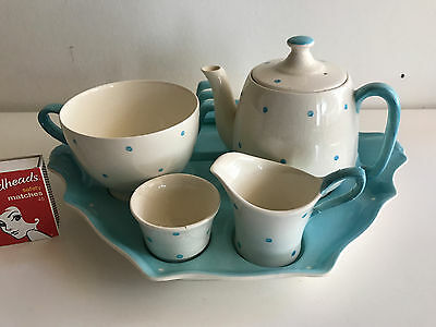 Royal Winton Blue Polka Dot Breakfast set England complete with repair