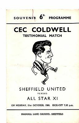 1966-1967 Sheffield United v All Star XI Cec Coldwell Testimonial