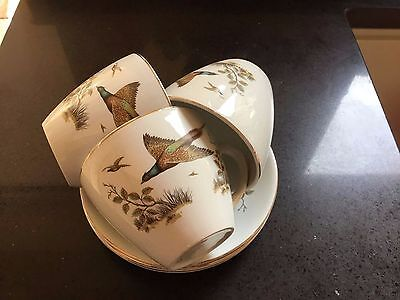 Vintage Alfred Meakin Pheasant Cups & Saucers