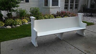 """99"""" long /8 feet old antique  church pew from Detroit church gothic design"""
