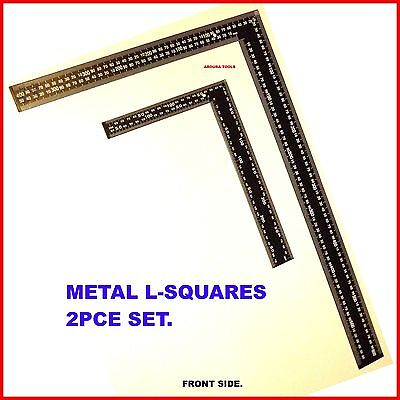 L - Squares 2Pce Set- Steel Rulers Rafter & Carpenters Squares- Brand New.