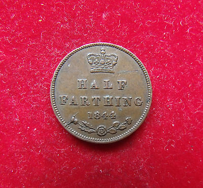 1844 Victoria Copper Half Farthing Britiish Coins Coin nice example