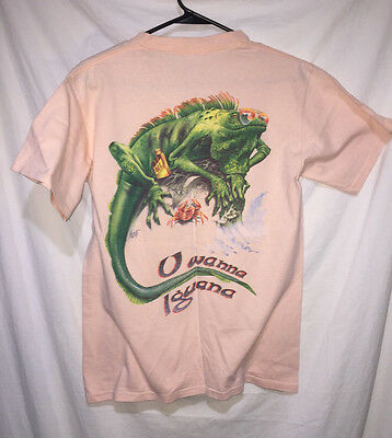 Jimmy Buffett Caribbean Soul Medium T Shirt U Wanna Iguana Vintage Pink Tee