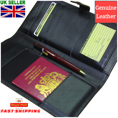 Leather Travel Wallet Black Passport Boarding Pass Ticket Currency Credit Cards