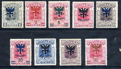 ALBANIA 1920 Overprints on King William issue set of 9 LHM/ *..  Michel 67-75