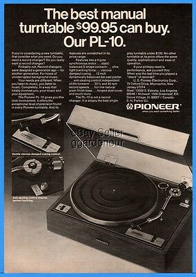 1974 Pioneer PL-10 LP Record Changer Turntable Stereo Component Print Ad