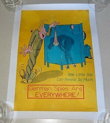 GERMAN SPIES Linen Backed Original WWII Poster 654th Engineers TONY STROBL
