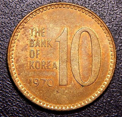 *Rare* South Korea 1970 10 Won BRONZE Var. CH AU to UNC., Toned RB Coin!