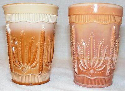 Greentown Glass (Indiana Tumbler) Chocolate Cactus tumbler 2 one real one repro.